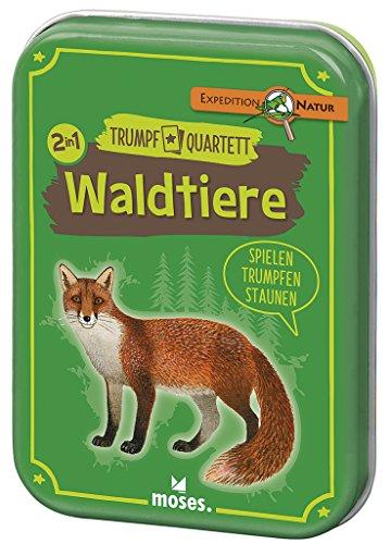 Moses 72-426 9672 - Expedition Natur Trumpf-Quartett Waldtiere | Kartenspiel