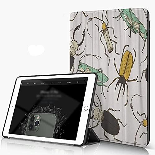 Carcasa para iPad 10.2 Inch, iPad Air 7.ª Generación ,Marrón Bicho Dibujos Animados Divertido Saltamontes Ciervo Escarabajo Infantil Perfe,incluye soporte magnético y funda para dormir/despertar