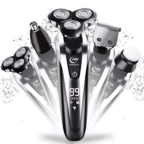 Herren Elektrorasierer, 5 in 1 Elektrischer Trocken- & Nassrasierer Wasserdicht Wiederaufladbar, LCD-Display mit 2 Elektrischen Drehköpfen, Schnurrbart Barbe Nasenhaarschneider