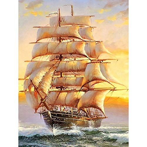 DIY 5D Full Drill Sailboat Sailing on Sea Square Diamond Painting Ship Boat by Number Kits for Adults & Kids Crystal Rhinestone Cross Stitch Beautiful Pictures for Wall Decoration Gift 40x50CM/16x20IN