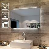 SONNI Badspiegel Lichtspiegel LED Spiegel Wandspiegel mit Sensor-Schalter 80 x 50cm kaltweiß IP44...