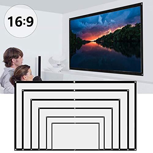 Bestine - Pantalla de proyección para proyector (100 pulgadas, pantalla de proyección móvil con 16:9 HD, pantalla de película plegable, para cine en casa, proyección frontal y trasera