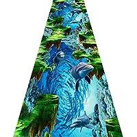 じゅうたん 廊下のカーペットロング ランナー ラグ 滑り止め 廊下敷きカーペッ 通路 エントランス 敷物 フロアマット 子供の寝室の路のための3Dの魚のデザインのフロアマット、カスタマイズ可能 (Color : A, Size : 120x600cm)
