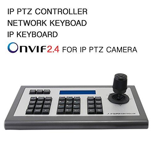 Teclado de red LEFTEK, teclado IP Controlador PTZ 4D IP con pantalla LCD Teclado de teclado Onvif para cámara IP PTZ Compatible con Hikvision / Dahua / TVT / Uniview / XM / Jovision Marca, etc.