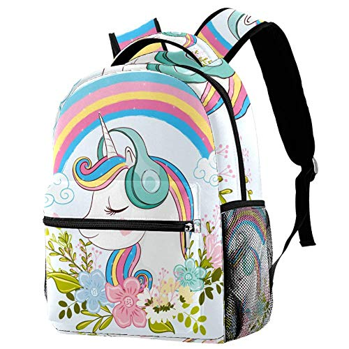 Cute Unicorn with Flowers Personalised School Bag for Boys and Girls - Kids School Backpack - Childrens rucksacks for Boys and Girls