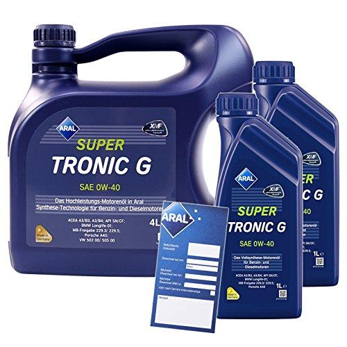 2x 1 L + 4 L = 6 Liter Aral SuperTronic G 0W-40 Motor-Öl inkl. Ölwechsel-Anhänger