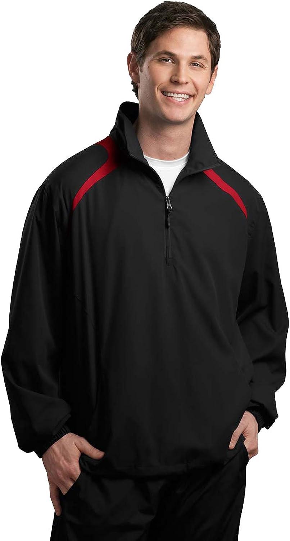 Sport Tek 1 2 Zip Wind Shirt (Black True Red)