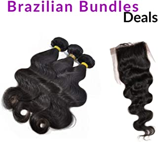All-in-One Super Value: Top Closure + Three Bundles Body Wave (18