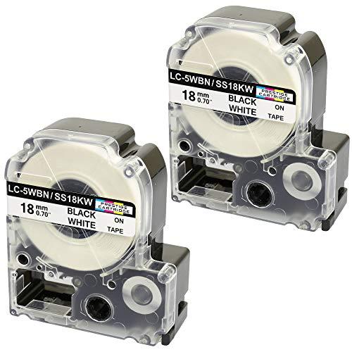 2 Kassetten LC-5WBN LC-5WBN9 SS18KW schwarz auf weiß 18mm x 8m Schriftband kompatibel für Epson LabelWorks LW-300 LW-300L LW-400 LW-500 LW-600P LW-700 LW-900P LW-1000P Beschriftungsgerät