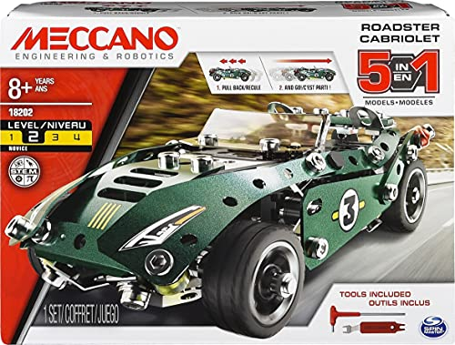 Erector by Meccano, 5 in 1 Roadster Pull Back Car Building Kit, for Ages 8 and up, STEM Construction Education Toy