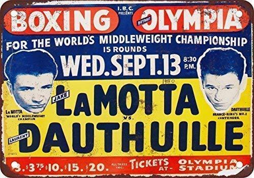 Letrero de metal vintage de Jake Lamotta Boxing In Detroit de 1950 con agujeros perforados para metal de 20,3 x 30,5 cm