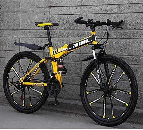 XinQing-Bike Mountain Bike Folding Bikes, 26Inch 24-Speed Double Disc Brake Full Suspension Anti-Slip, Lightweight Aluminum Frame, Suspension Fork