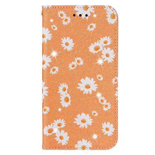 BAILI Lederhülle für Samsung Galaxy S20 Lite Hülle,Tasche Cover Etui Handyhülle für Samsung Galaxy S20 Lite,Flip Hülle für Daisy Flowers Handyhülle,Orange
