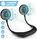 Portable Hanging Neck Fan Hands-Free 7-12 Hours, Including 2pcs USB Rechargeable Battery&Charger, Headphone