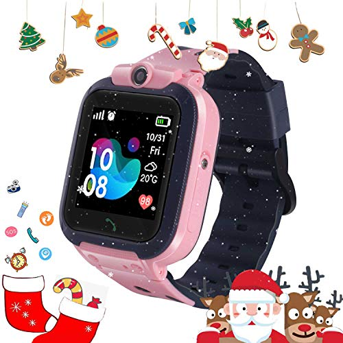 DUIWOIM Kid Smart Watch Waterproof Call Smartwatch SOS Game Two-Way Remote Camera Touch Screen Smart Watch for Girls Boys (Pink)