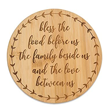 Brownlow Gifts Bamboo Trivet Serving Tray, Bless The Food