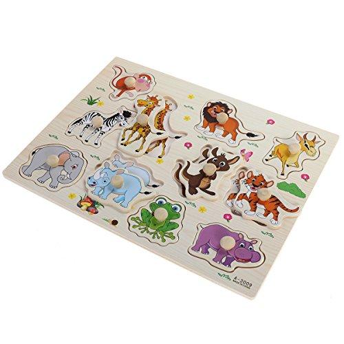 YeahiBaby Animales de la selva Pegged Puzzles de madera de la carta educativa del rompecabezas de la junta de madera rompecabezas rompecabezas juguetes para niños