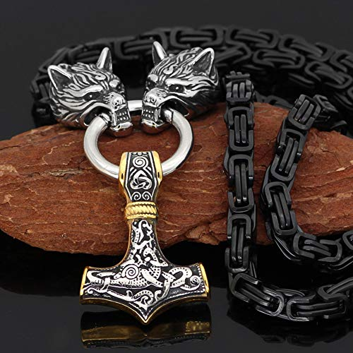 YANGFJcor Viking Wolf Head Thors Hammer Mjolnir Halskette, Männer Edelstahl Massives Byzantinisches Quadrat Schwarze Königskette, Nordischer Kompass Ungläubige Amulettschmuck Geschenk,Two Tone,60CM