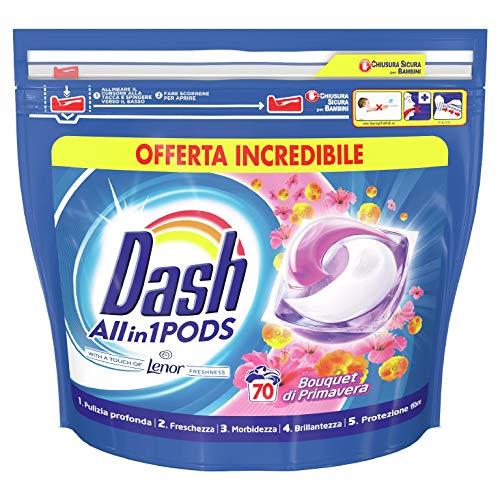 Dash All in 1 Pods Detersivo Lavatrice in Capsule, 70 Lavaggi, Primavera, Rimuove le Macchie, Brillantezza per Tutti i Capi