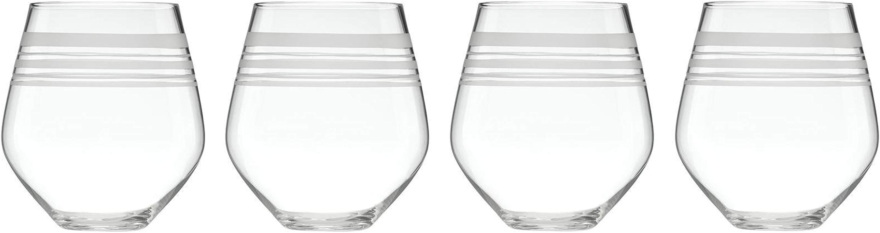 Kate Spade New York Library Stripe Crystal Stemless Red Wine Glasses 16 Ounce Set Of 4