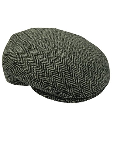 Harris Tweed Herren Schirmmütze Gr. 57 cm, Grau (Fischgrätmuster)