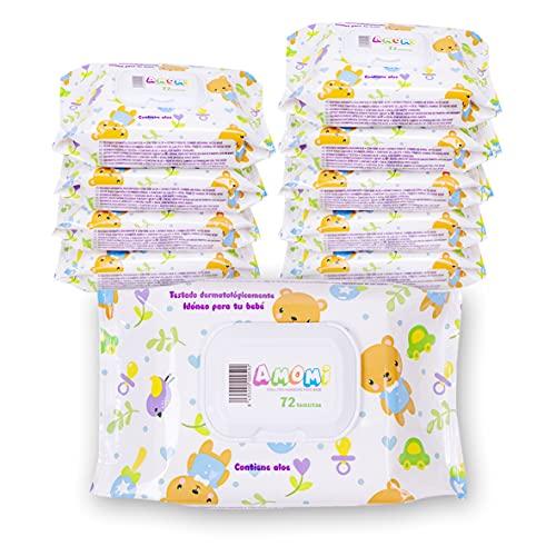 AMOMI Toallitas humedas compactas para Bebé y viajes, 7 Paquetes 504 Unidades, Toallitas húmedas Bebé, con Tapa, Testado dermatológicamente y 0% de fenoxietanol, parabenos y alcohol