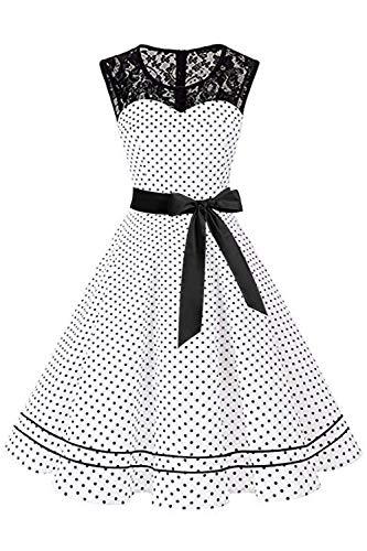 MisShow Rockebillykleider Damen Vintage Spitzen Kleider Polka Dots Retro Motto Kleider Partykleider FS3779 Weiss S