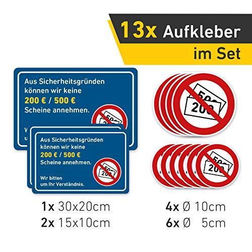 Set XXL Aufkleber Keine 500/200 Euro Scheine Annahme