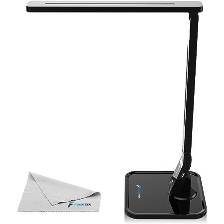 Fugetek 27 LED Desk Office Lamp FT-L798, 14W Exclusive Model with Recessed LEDs, 5-Level Brightness, 4-Lighting Modes, USB Charging Port, Touch Control Panel, Dimmer, 1-Hour Auto Timer, 5V/1A, (Black)