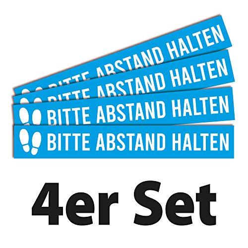 4 vloerstickers op afstand houden | 80 x 12 cm | stevige folie met UV-bescherming | beschermend laminaat antislip R11 volgens DIN 51130 | set van 4 | houd afstand blauw | Dreifke®