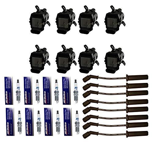 8 AD Auto Parts Ignition Coils + 8 OEM 41-962 Platinum Spark Plugs + 1 OEM 9748HH Spark Plug Wires