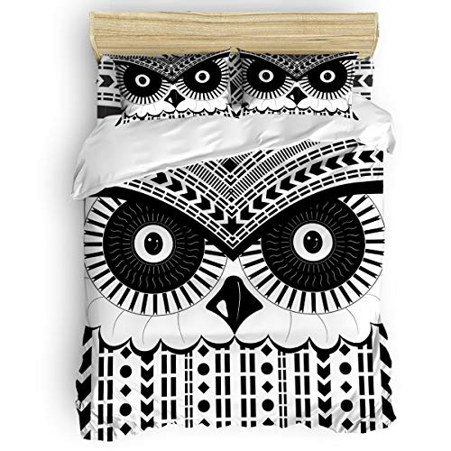 Infinidesign Animal Duvet Cover 4 Piece Set King Size, Soft Breathable Washed Polyester Microfiber Comforter Cover, Luxury Bedding Quilt Covers, Owl Abstract Geometric Black White