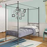WeeHom Metal Canopy Bed Frame Platform Bed 4 Posters Sturdy Steel Mattress Foundation with Headboard and Footboard Box Spring Replacement Easy DIY Assembly Twin,Black