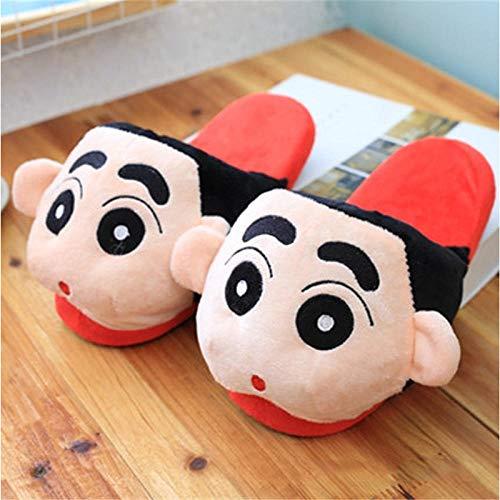 Zapatillas de Estar Por Casa Pantuflas de Felpa Crayón Shin-Chan Mujer Invierno Animación Zapatos de Tacón Tipo Bolsa Antideslizantes Y Cálidos Informales Zapatos de Piso-Talla de Mujer (35-39)
