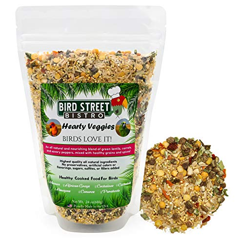 Bird Street Bistro Parrot Food Hearty Veggies | Cooks in 15 min. | All Natural & Organic Grains and Legumes, Healthy, Fruits, and Vegetables, Spices - No Fillers, Sugars, Sulfites (Large 24 oz.)
