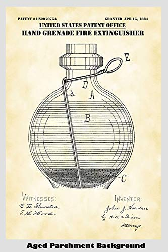 Vintage Hand Grenade Fire Extinguisher Poster Patent Print Art Poster: Choose From Multiple Size and Background Color Options