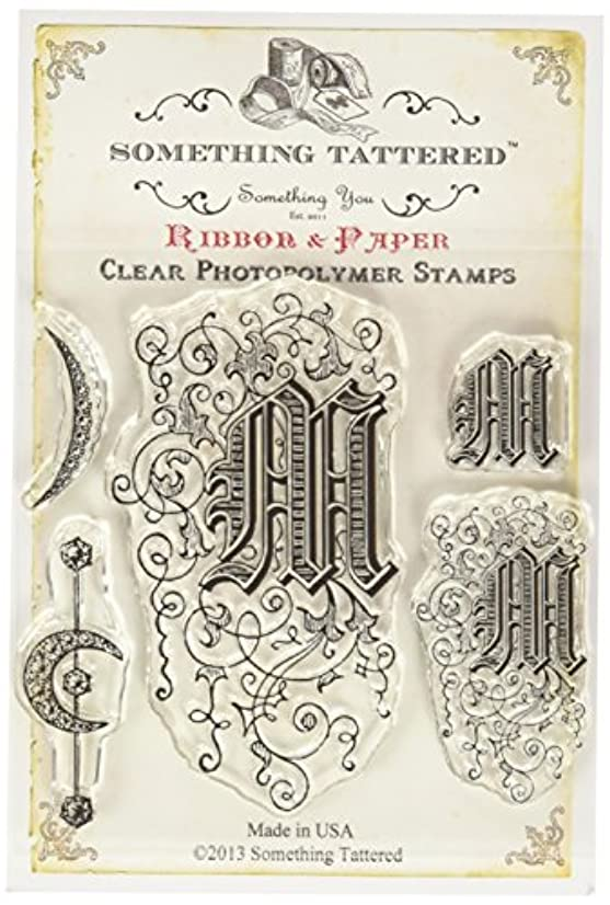 Something Tattered Clear Stamps, 4 by 4-Inch, Monogram Initial M