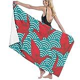 Origami - Juego de grúas de papel roja, patrón sin costuras, 100% algodón turco, microfibra de microfibra superabsorbente para playa, piscina, spa, baño, viaje, tamaño grande, 81 x 52 pulgadas