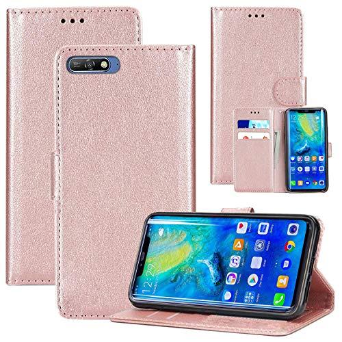 Custodia Huawei Honor 7A / Y6 2018, Premium Custodia protettiva in pelle Pu per, Portafoglio Slot per schede antiscivolo Custodia protettiva Flip Full Body Slim Fit Cover (Rose Gold)