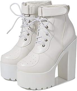 Vrouwen herfst ronde neus Lace Up Enkel Velcro Chunky High Heel Platform Knight Martin Boots, 14.5cm Dikke + 5,5 cm waterd...