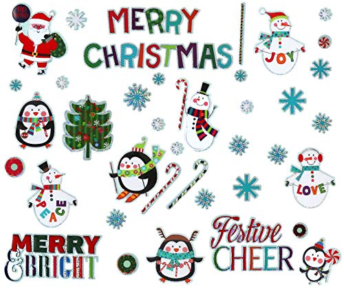 Iconikal Puffy 3D Removable Christmas Wall and Window Stickers, 40-Count Set