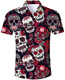 Goodstoworld Camisa Flores Hombre Halloween Casual Manga Corta Ajuste Regular para Hombre Hombre botón de Camisa Calabaza de impresión hacia Abajo Floral