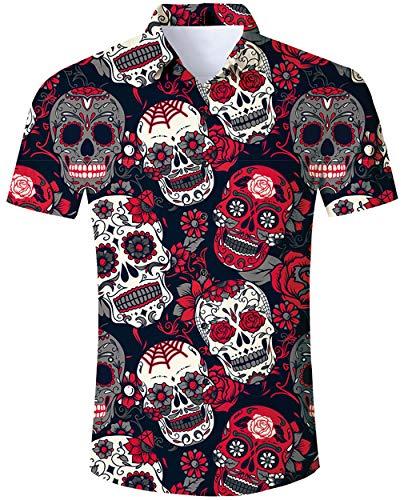 Goodstoworld Camisa de Halloween Hombre Cráneo Camisa Casual Manga Corta Ajustado para Hombre Mens Hawaiian Shirt t Shirt Top