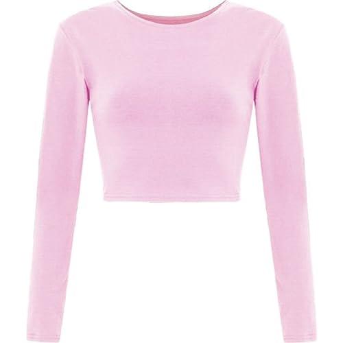 468734c6761fd4 Plain Mini Stretch Casual T-Shirt Crop Top