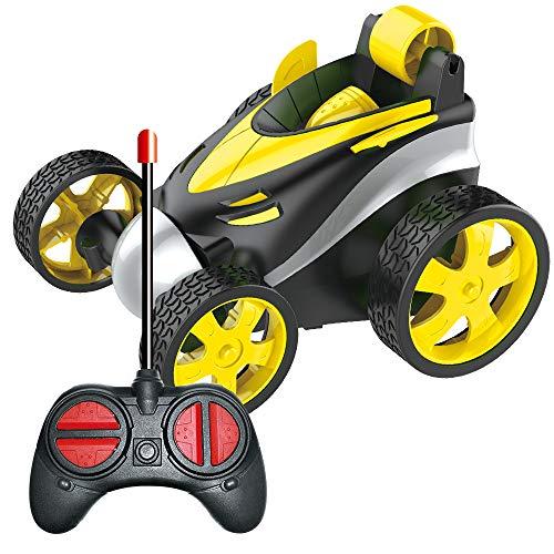 BRAND SET Vehículo de Control Remoto Coche del Truco de Xuatro Ruedas, Carro de Control Remoto, Rotación del Balanceo de 360 Grados, Seguro y Duradero, Regalo de Cumpleaños para Niños-Amarillo