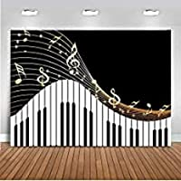 ZPCピアノの背景黒と白のピアノのキー写真の背景7x5ftビニール音楽ピアノテーマライブ誕生日パーティーの背景