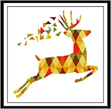 Proumhang 14 CT Kits de bordado DIY Mantel de punto de cruz para bordar 2 hilos Aida Canvas Blanco 58x17cm Tres lechuzas+Welcome