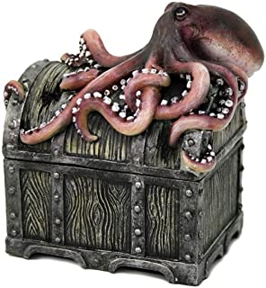 Pacific Giftware Decorative Davy Jones Locker Treasure Chest with Octopus Collectible Trinket Box 5 Inches W