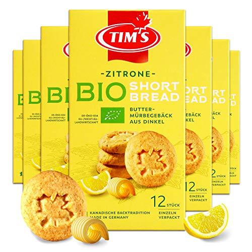 Tims Feines Bio Shortbread Zitrone 165 g I Original Kanadische Butterkekse I Buttriges, süßes Dinkel-Mürbteiggebäck ohne Konservierungsstoffe I Traditionelle kanadische Backwaren Made in Germany