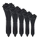 Zip Ties 500 Packs Cable Ties Self-Locking 4+6+8+10+12-Inch Width 0.16inch for Home Office Garage and Workshop